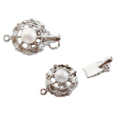 Round Box Clasp With Pearl - Platinum 12mm
