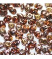 Superduo Beads Smoky Topaz Capri Gold  5x2,5mm - 10gr