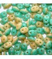 Superduo Beads Turquoise/Opaque Ivory  5x2,5mm - 10gr