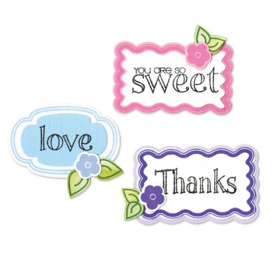 Set Coordinato Fustelle Framelits + Timbri - Words and Tags - Sizzix