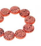 2 Hole Coin Glass Beads Orange Laser Contour 14mm - 4pcs