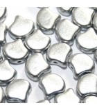 Czech Glass Ginko Beads - Crystal Aluminum 7,5mm - 10gr
