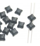 Czech Glass Wibeduo Beads Jet Matted 8x8mm - 300pcs